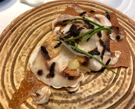 Tree trunk: boletus consommé, Parmesan gnocchi with bread crusts, mushrooms and truffle