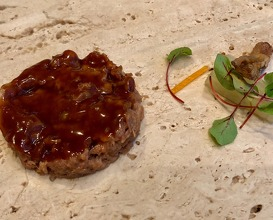 Duck rillettes with spicy blinis and crunchy nervures and tongue salad