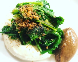 Cow's curd, Purple sprouting broccoli & burnt onion