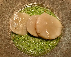 Scallop from Hijra, fermented white asparagus and chamomile