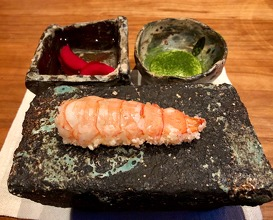 Deep fried langoustine, crispy rice (koshihikari), dried green onions, emulsion of clarified butter infused with ginger