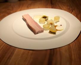 Pork belly Ibaïama, yoghurt sauce, pine nut, fir and citron
