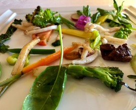 Squid with vegetables from the local garden