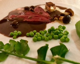 Pigeon with olive reduction and Bandol wine