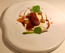 Lamb cutlet with sweet onion purée and rhubarb