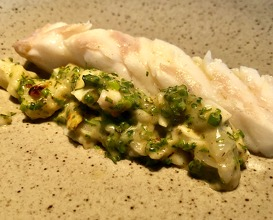 Turbot with sauce including the crispy skin