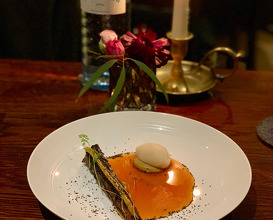 Roasted Carrot Vinegar-punsch sorbet, quince reduction