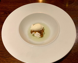 Caraway Meringue Woodruff, sour cream ice