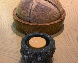 Black rice bread and soy butter