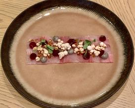 SEABASS - TUNA Beetroot, Black rice mayo, Fermented Thai curry