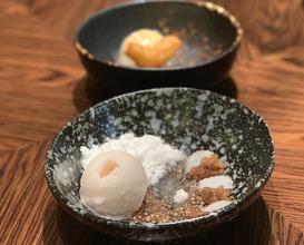 Natural tapioca boiled in coconut water (ne กันเปียกถ้าใย)-Longan ice/longan jam/frozen coconut milk/grilled coconut