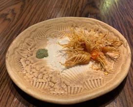 Prelude crispy shrimp legs -Seaweed powder/crispy pickled garlic/turmeric