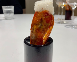 """13. Slightly Roasted Red Prawn's Head, Bittersweet, Filled With Sea Urchin And """"Palo Cortado"""" Wine"""
