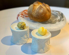 Bread, seaweed butter, salted butter