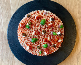 Napolitan cracker, rice cracker, anchovies, black olive, tomato powder)
