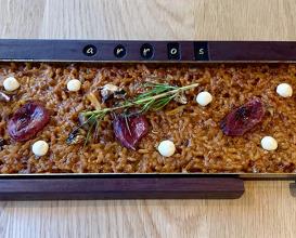 Contemporary rice: Wood pigeon breast, wild mushrooms, rosemary, porcini aioli
