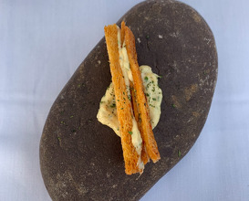 Savory Wafer Toasted brioche, poached kupez, aromatic mayo, citrus, seaweed dust