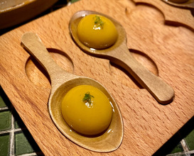 Spherical olive with chipotle and lime