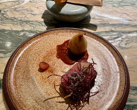 Retired dairy cow, beef tendon, Norfolk grains, Barsham Stout Robin beer, Baked Onion