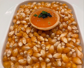 Cured egg yolk tart and caviar