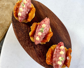 wagyu tartare with chipotle and sea urchin