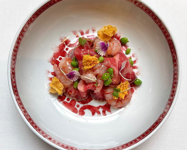 red prawns ceviche and wagyu