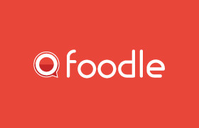 Foodle logo, colored background.